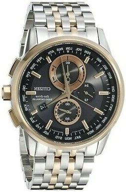 Men's Citizen Eco-Drive World Chronograph A-T Two-Tone Black