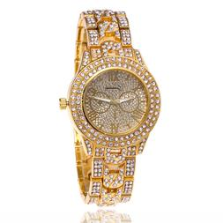 Wrist Watch Hip Hop Iced Out Rapper Rose Gold Silver Bling M