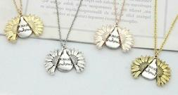 """You Are My Sunshine"" Boho Sunflower Pendant Locket Woman Ne"