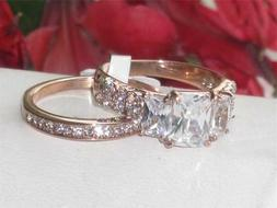 Z1690 WEDDING & ENGAGEMENT SET CZ RING STAINLESS STEEL & ROS